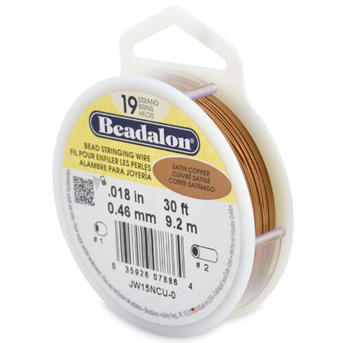 Colors BRIGHT Various Sizes Beadalon Bead Stringing Wire 19 Strand 30//100 FT