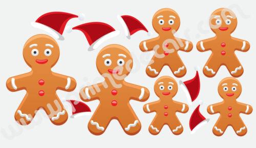 h33 Gingerbread Man Wall Decal Winter Christmas Cookies Seasonal Decor Vinyl
