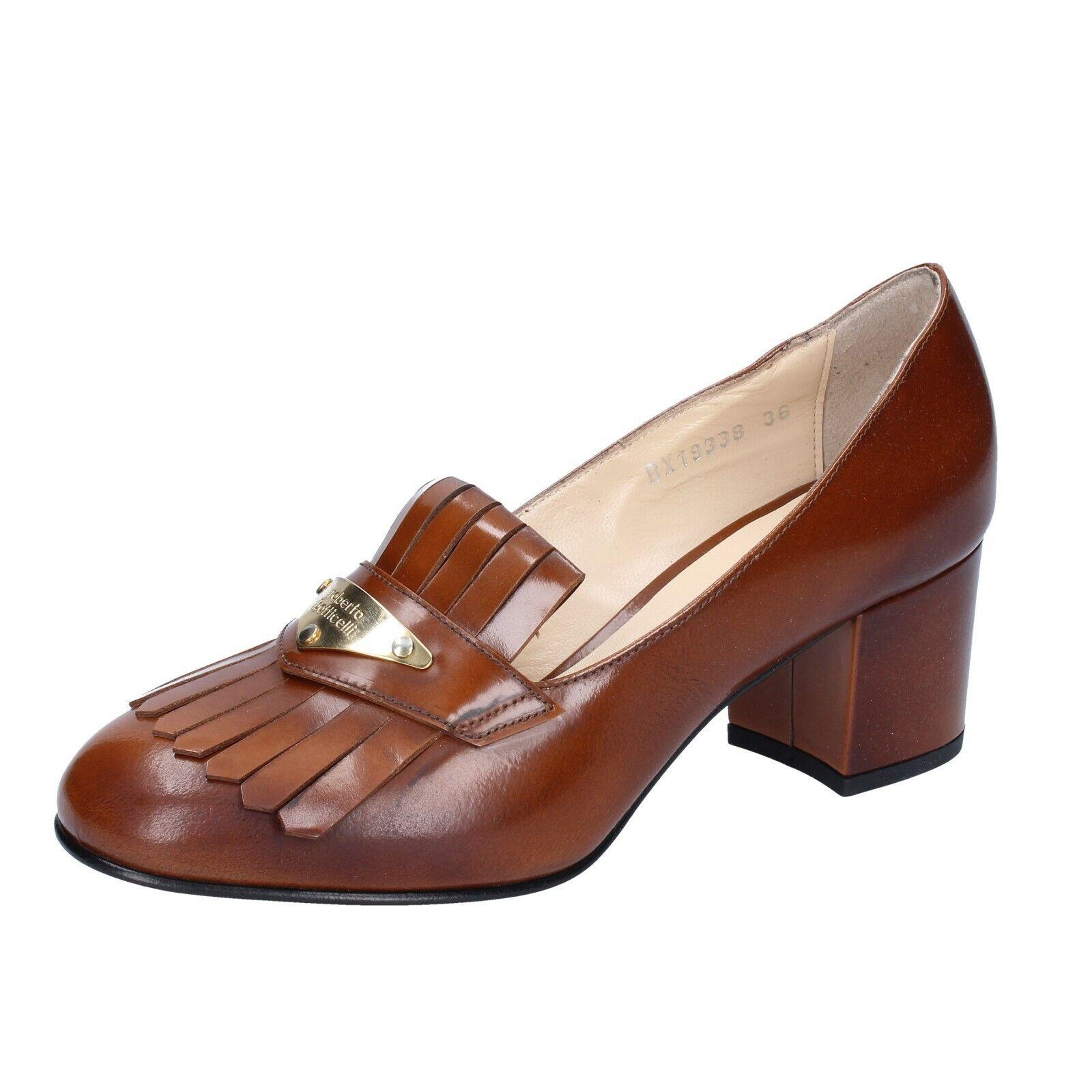 Wouomo scarpe ROBERTO BOTTICELLI 9 EU 39 moccasins Marronee shiny leather BS283-39