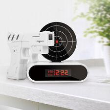 Laser Target Gun Shoot to Stop Game Alarm Clock LCD Screen Novelty Gift White