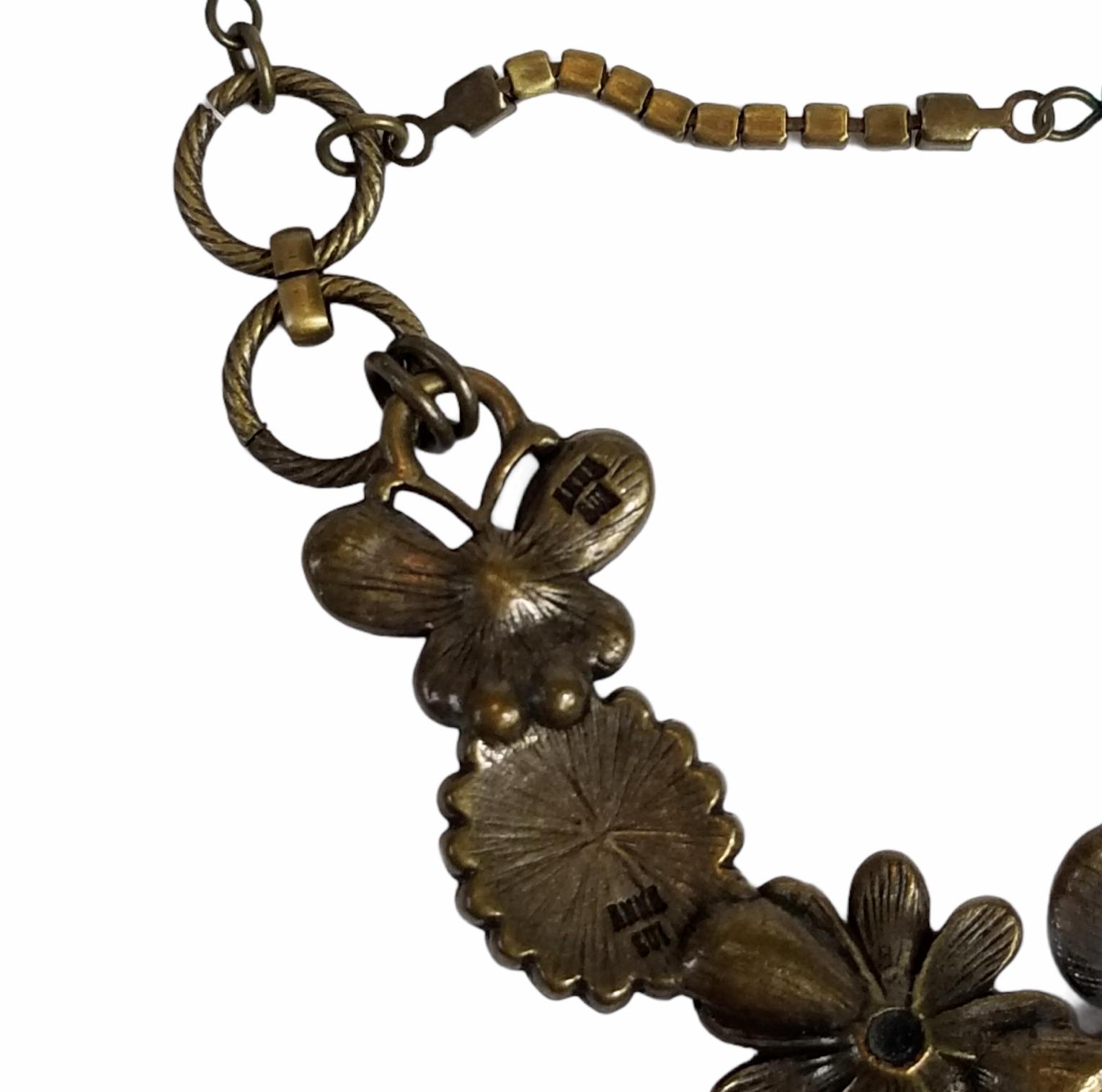 Vintage Anna Sui Flower Crystal Rhinestone Caboch… - image 7