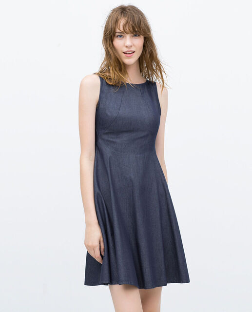 Zara sleeveless denim Blau flarot dress Größe XS new 5899 151 407