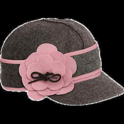 Petal Pusher Wool Cap by Stormy Kromer Charcoal/Pink USA Made Winter/Cold Weathe