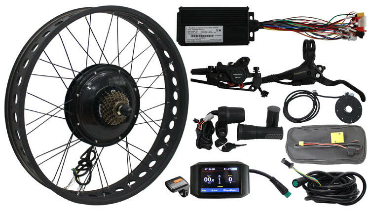 72V 1000W Fat Tire eBike Conversion Kit color Display Intelligent Electric Bike