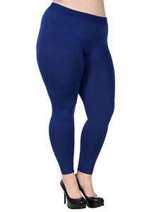 46d8f3f6f72 Women Plus Size Solid Fleece Lined Warm Stretch Pants Plain Leggings ...