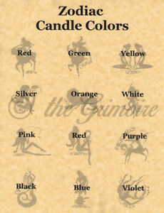 Details about ZODIAC CANDLE CORRESPONDENCES, Book of Shadows Spells Pages,  Wicca