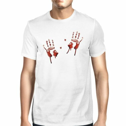 Details about  /Bloody Handprints Mens White Shirt