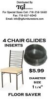 Chair Glides, Floor Saver For Metal Chairs 3 Sizes Pkg. Of 4 Glides