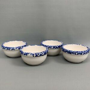 Santa-Ana-California-Pottery-Fruit-Sauce-Salsa-Dip-White-Blue-Bowls-Lot-of-4