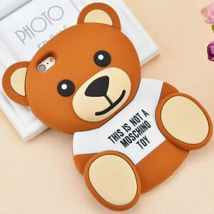 online retailer 62fa7 dd061 Details about Hot 3D Moschino Teddy Bear Silicon Case Shell For i Phone 5 6  Plus i Phone7 Plus