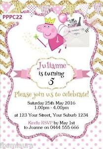 Details About Peppa Pig Glitter Chevron Birthday Party Personalised Invitations Cards Invites