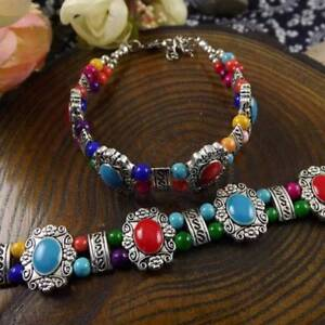 HOT-Free-shipping-New-Tibet-silver-multicolor-jade-turquoise-bead-bracelet