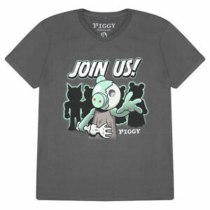 Boys Piggy T Shirt Zombie Join Us Official Grey