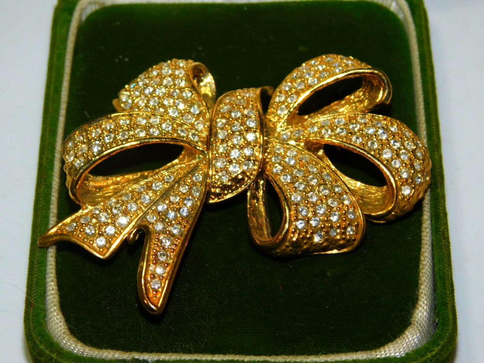 Huge Vintage High End Roman Shiny Rhinestone Bow gold Brooch Pin 11d 69