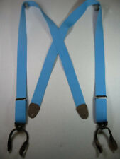"MADE IN USA 1/"" Wide BUTTON ON Suspenders LEATHER EARS  Many Colors /& Lengths"