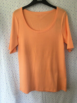 M/&S Ladies Lime Green Yellow Scoop Neck Half Sleeve Cotton T Shirt Size 14