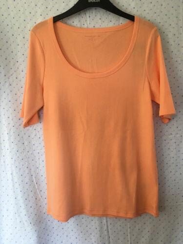 Talla 14 1//2 Apricot M/&S Damas Naranja Camiseta De Algodón Escote Redondo Manga a Mitad De