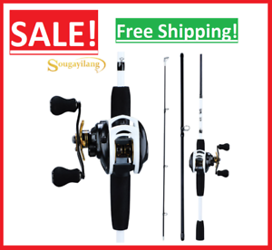 ✅New Sougayilang Fishing Rod and Reel Combo Baitcaster Portable 3 Section Carbon