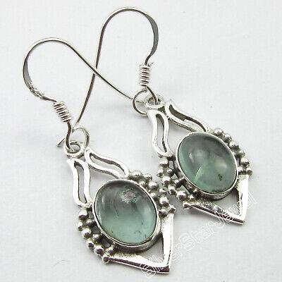"""925 Solid Silver APATITE Earrings 1.1/"""" Jewelry SilverStarJewel GREEN Earrings"""