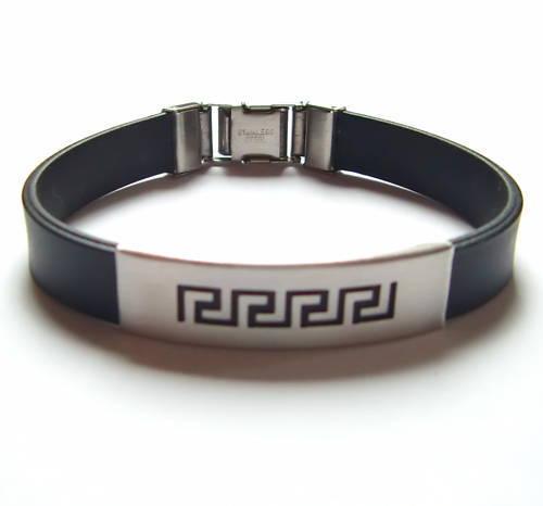 Edelstahl Kautschuk Armband Tribal black leicht kürzbar Herren Damen neu