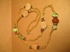 Artisan Necklace w/ Flowers, Glass, Stone & Metal Spacer Beads - Doubles Up Too!
