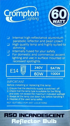 4 x 60W Incandescent R50 Reflector Light Globes Bulbs Screw E14 Dimmable SES