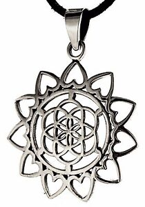 Mandala-Life-Flower-925-Silver-Pendant-Flower-of-Life-Esoteric-Necklace-no-203