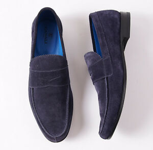fd6b7c85559 NIB  595 CANALI 1934 Navy Blue Calf Suede Penny Loafer US 7 D Shoes ...