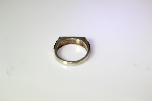 Vintage Sterling Silver .05TCW Diamond & Onyx Ban… - image 4