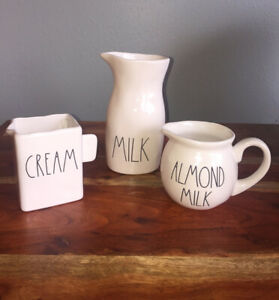 Set Of 3 2019 Rae Dunn Magenta MILK Carafe CREAM Pitcher ALMOND MILK creamer