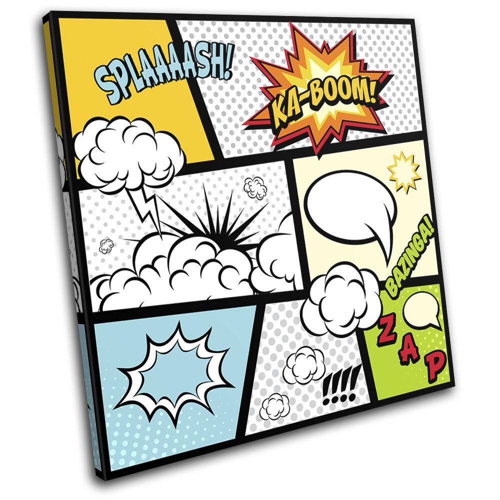 Comic Book Typography Illustration SINGLE LONA impresion pared arte Foto impresion LONA eac5fc