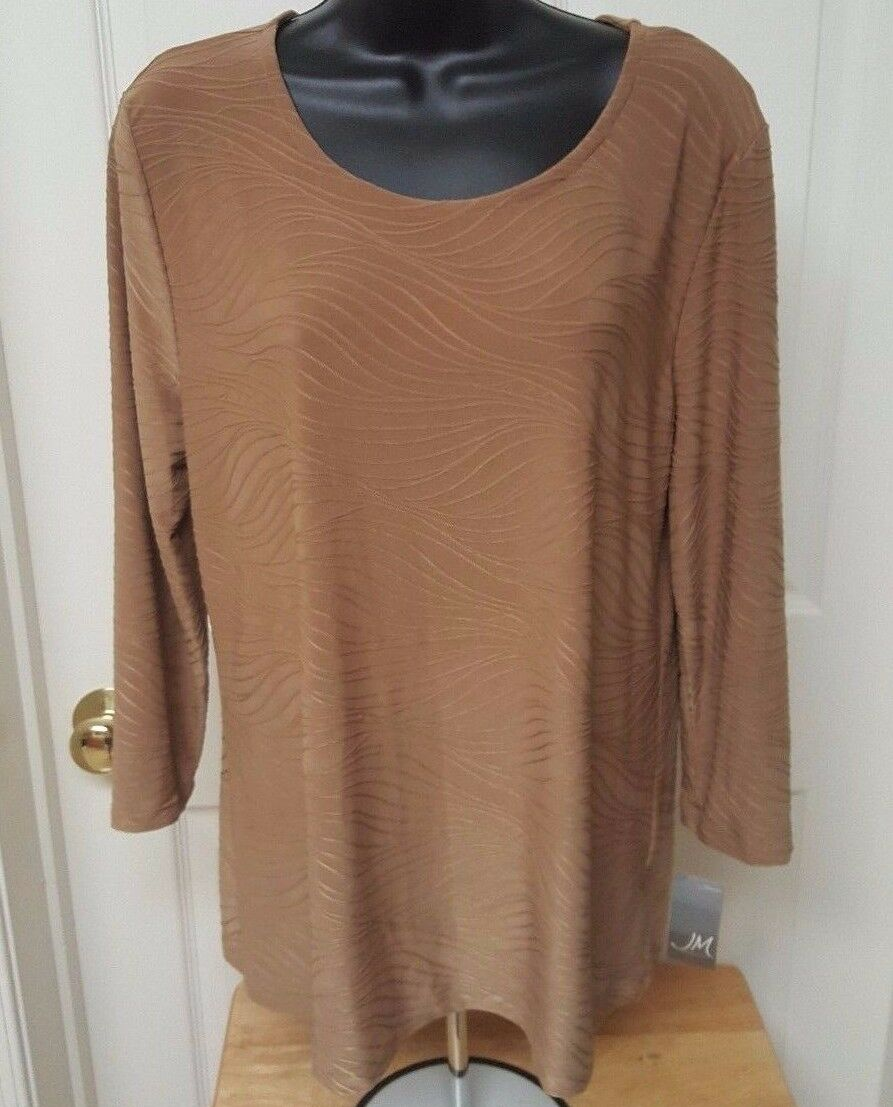 JM Collection NWT Womens Brown Textured Shirt Top Size L