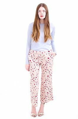 MARNI Pink Floral Print Cotton Linen Wide Leg Cropped Trouser Dress Pant 42/6/M