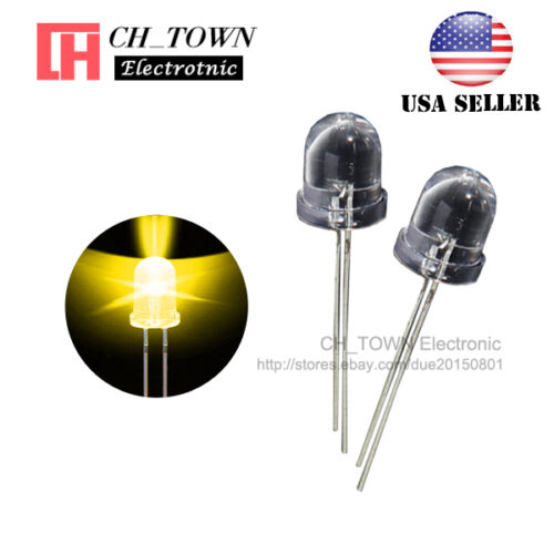 50pcs 8mm Led Diodes Yellow Light Water Clear Round Top Transparent USA