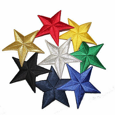3 inch Embroidered Iron on Star Patches- Sold Separately- Multiple Colors 1031