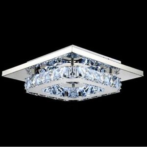 Square-Chrome-Metal-Crystal-LED-Ceiling-Light-lamp-Fitting-Pendant-Chandelier