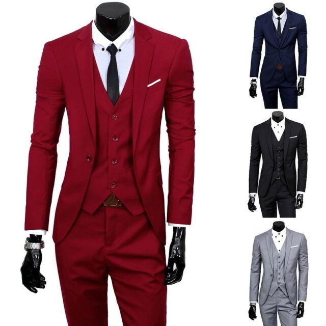Men's Slim Business Formal Wedding Coat 3-Piece Leisure Blazer Solid Suit JR15
