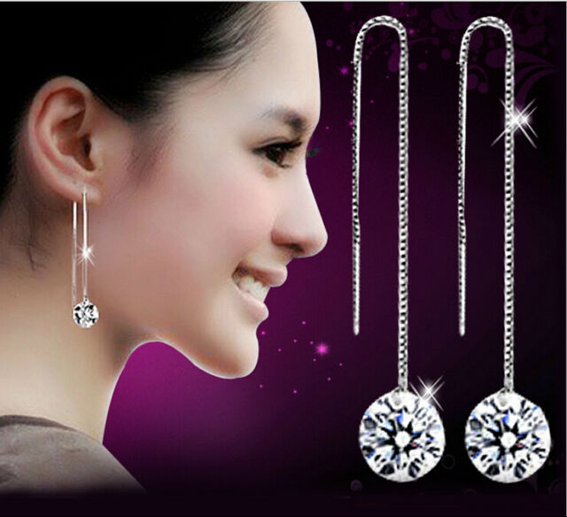Cute Hot Women's Attractive Silver Plated Drop Dangle Chain Earrings 0380