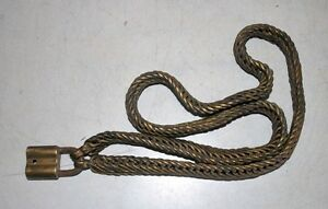 Collectible Vintage Old Original South India Brass Hand Forged Chain With Lock