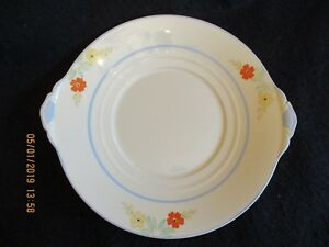 ART-DECO-NEW-HALL-2690-HAND-PAINTED-FLORAL-10-034-CAKE-BREAD-PLATE-c-1930-039-s-EX