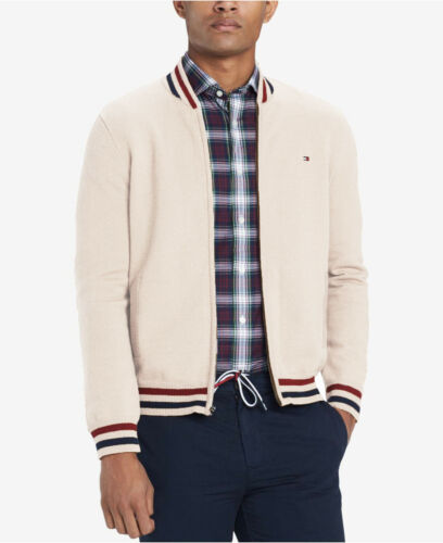 Tommy Hilfiger Men/'s Off White//Ivory Heather Full Zip Baseball Sweater Jacket
