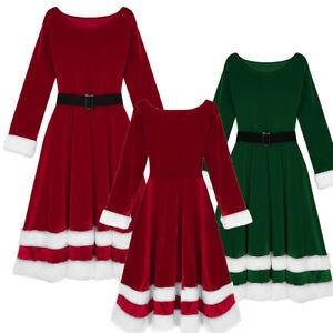 Winter Frauen Damen Langarm Santa Kleid Weihnachten Xmas Lang Outfit Ubergrosse Ebay