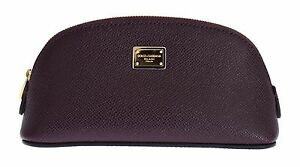 4a43b9870c Image is loading NWT-380-DOLCE-amp-GABBANA-Purple-Leather-Cosmetic-