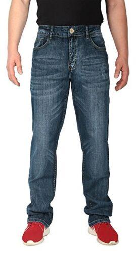 "iLoveSIA Mens Jeans Straight Leg Mid-Rise Denim Pants Stonewash waist 38/"""