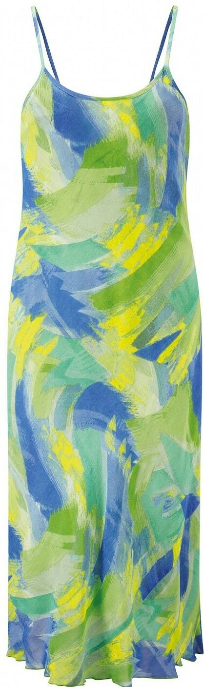 Adini Soft Geogette Lined Brush Stroke Print Sleeveless Dress bluee Green Yellow