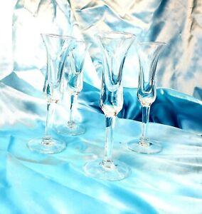 Stemmed-Cordial-Dram-Liqueur-Glasses-Set-of-4-Mouth-blown-Vintage