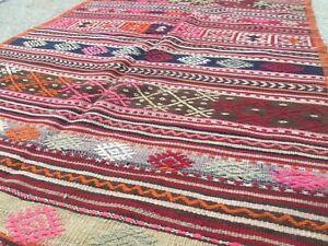 Antico-Tappeto-Kilim-Turco-Shabby-Vintage-Old-Lana-COUNTRY-HOME-Kelim-209x125cm