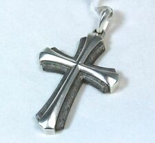 New David Yurman Men's Armory Meteorite Silver Cross Pendant Enhancer $795