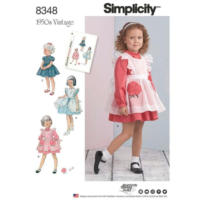 Simplicity Sewing Pattern 8348 Toddlers Retro 1950s Dress & Pinafore ...