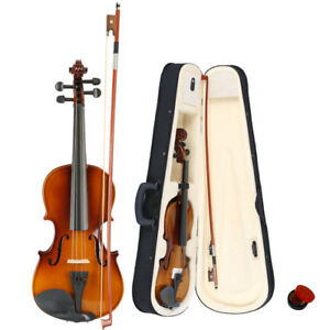 Size-3-4-Perfect-Acoustic-11-12-years-old-kids-Violin-Case-Bow-Rosin-Natural
